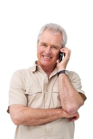 Mature man phone smiling